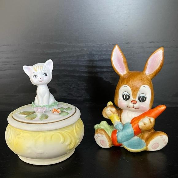 Pair animal ceramic figurines